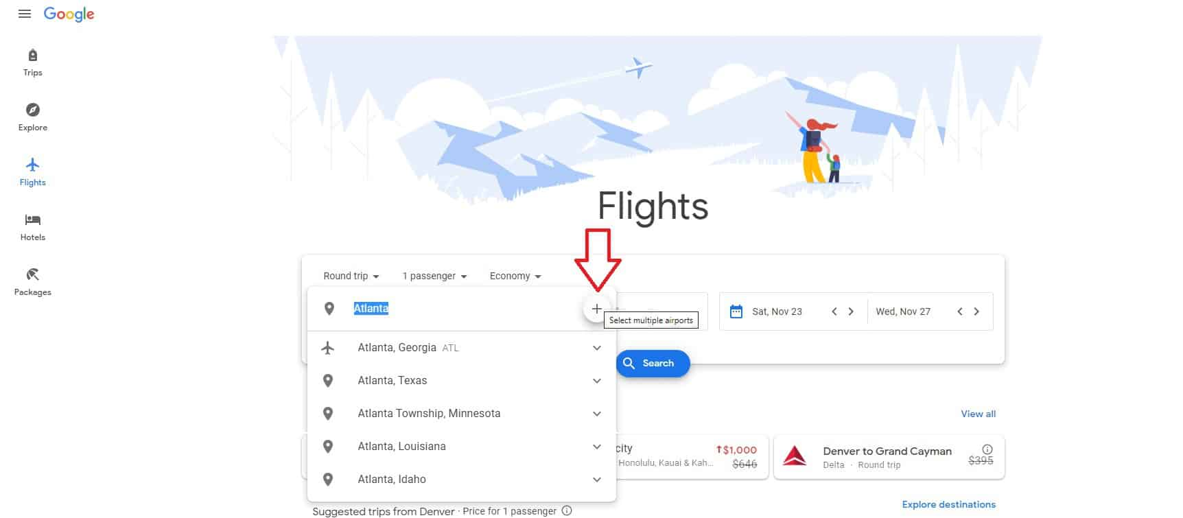 Google Flights - Add Departure Airport