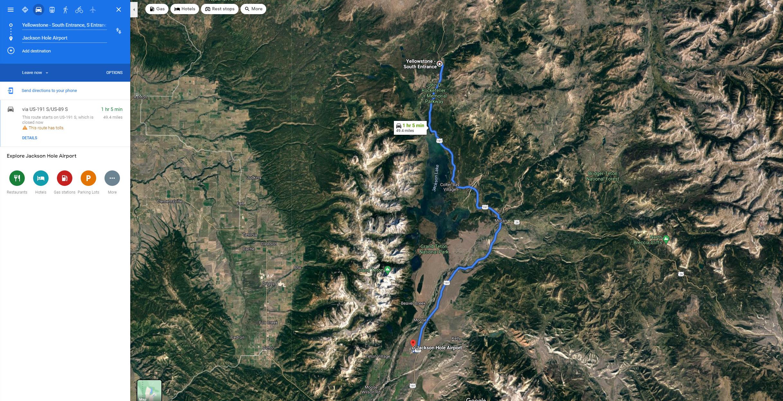 Jackson Hole Airport to Yellowstone